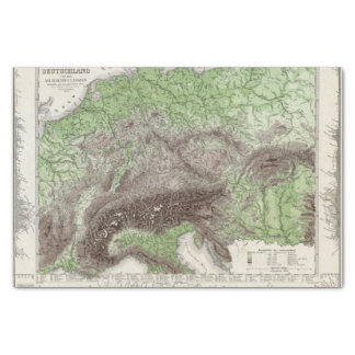 River and Mountain Map of Germany Tissue Paper