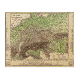 River and Mountain Map of Germany Wood Canvases