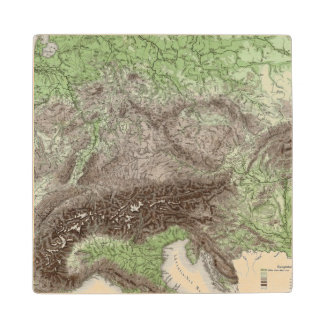 River and Mountain Map of Germany Wood Coaster