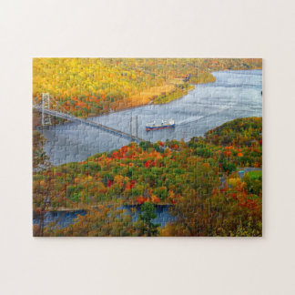 River autumn bridge landscape jigsaw puzzle