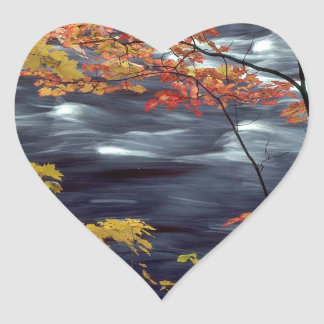 River Autumn Colors A Rushing Heart Sticker
