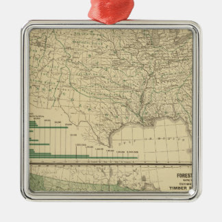 River basins, Forestry Silver-Colored Square Decoration