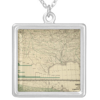 River basins, Forestry Silver Plated Necklace