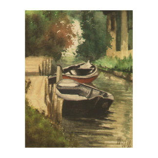 River Boats in Brandenburg Wood Prints