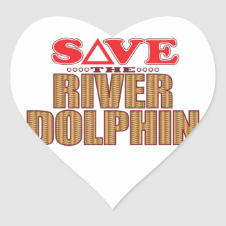 River Dolphin Save Heart Sticker