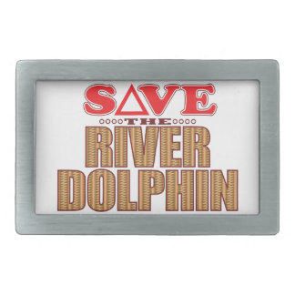 River Dolphin Save Rectangular Belt Buckle