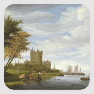 River Estuary with a castle Square Sticker