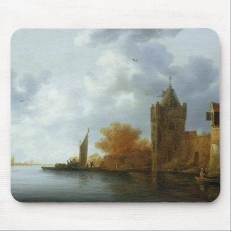 River estuary with a tower and fortified walls mouse pad