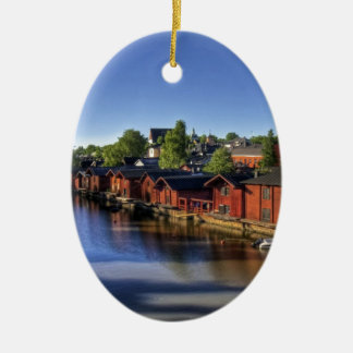River & Fish Barns, Finland Christmas Ornament