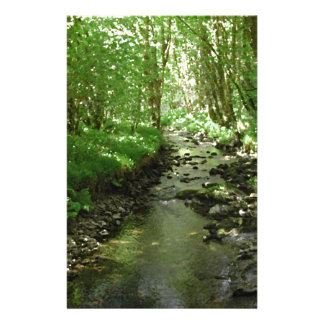 River flowing through woodland. stationery