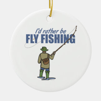 River Fly Fishing in Waders Christmas Ornament
