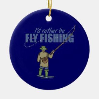 River Fly Fishing in Waders Round Ceramic Decoration
