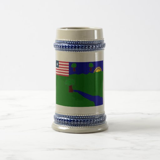 River Gee County Flag Coffee Mugs