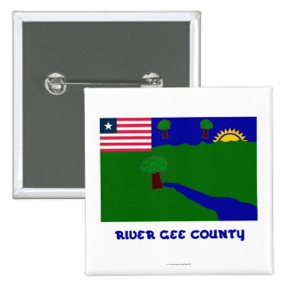 River Gee County Flag with Name 15 Cm Square Badge