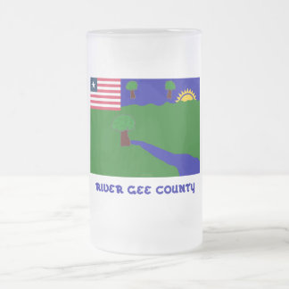 River Gee County Flag with Name Frosted Glass Beer Mug