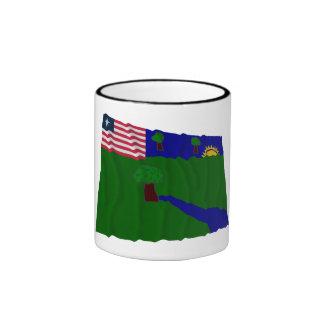 River Gee County Waving Flag Ringer Coffee Mug
