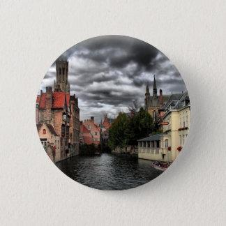 River in Bruges City, Belguim 6 Cm Round Badge