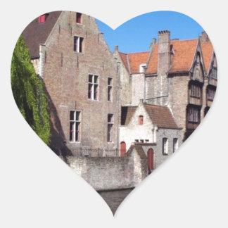 River in Brugge, Belgium Heart Sticker