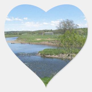 River in England Heart Sticker