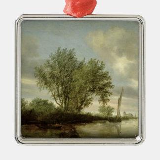 River Landscape, 1645 Christmas Ornament
