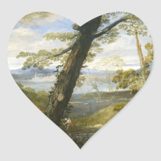 River Landscape By Annibale Carracci Heart Sticker