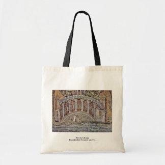 River Landscape  By Arabischer Mosaizist Um 715 Canvas Bag