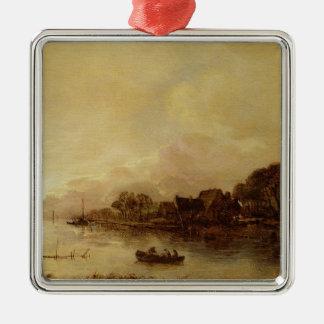 River landscape Silver-Colored square decoration
