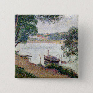 River Landscape with a boat 15 Cm Square Badge