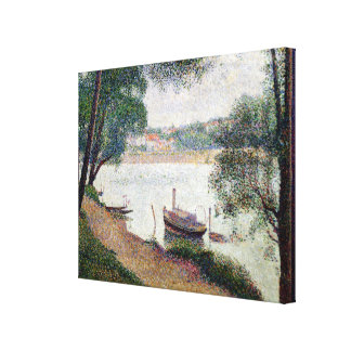 River Landscape with a boat Canvas Print