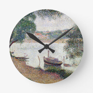 River Landscape with a boat Round Clock