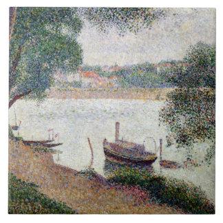 River Landscape with a boat Tile