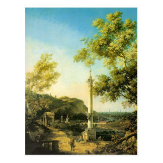 River Landscape with a Column by Canaletto Postcard