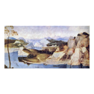 River Landscape With A Draftsman By Niederländisch Personalized Photo Card
