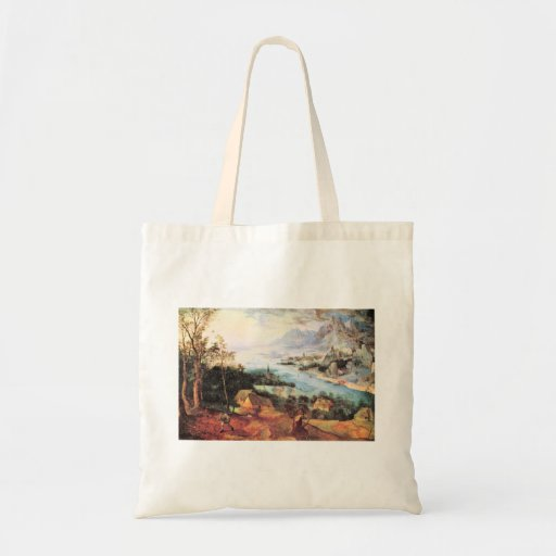 River Landscape with a sower by Pieter Bruegel Bags