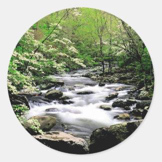 River Middle Prongdogwoods Smoky Tennesse Classic Round Sticker