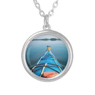 river mirror round pendant necklace