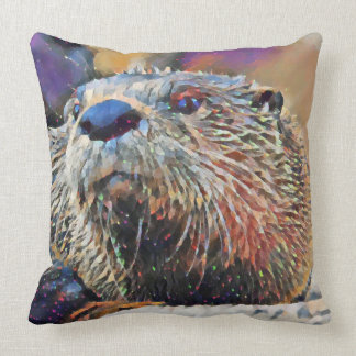 River Otter Digital Oil Painting Cushion