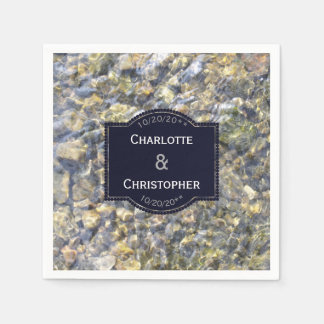 River Pebbles And Water Personalised Wedding Paper Serviettes