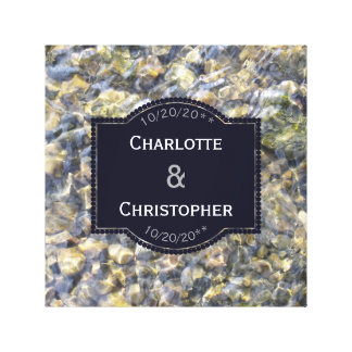 River Pebbles And Water Personalized Wedding Canvas Print