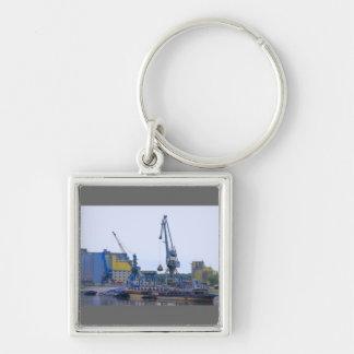 river port Silver-Colored square key ring
