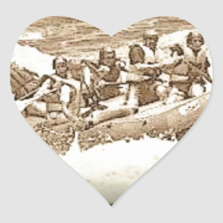 River Rafting Heart Stickers