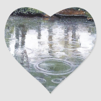 River Rain Water Boat painting Heart Stickers