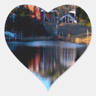 River Reflections Heart Sticker