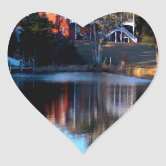 River Reflections Heart Sticker