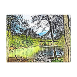 River Reflections Wrapped Canvas