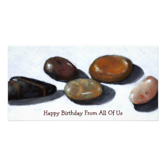 RIVER ROCKS, STONES: OIL PASTEL ART: birthday Personalised Photo Card