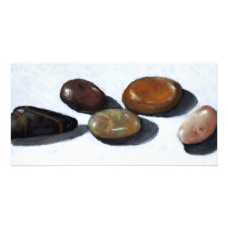 RIVER ROCKS, STONES: OIL PASTEL ART CUSTOM PHOTO CARD