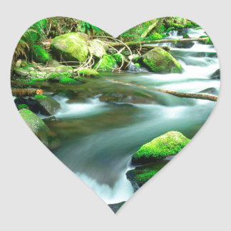 River Runningmount Hood Forest Oregon Heart Sticker