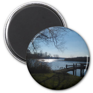 River Scene 6 Cm Round Magnet