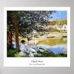 River Scene at Bennecourt, 1868 Claude Monet cool, Poster